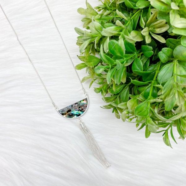 Abalone Stone Pendant Tassel Long Necklace, Silver *Final Sale*