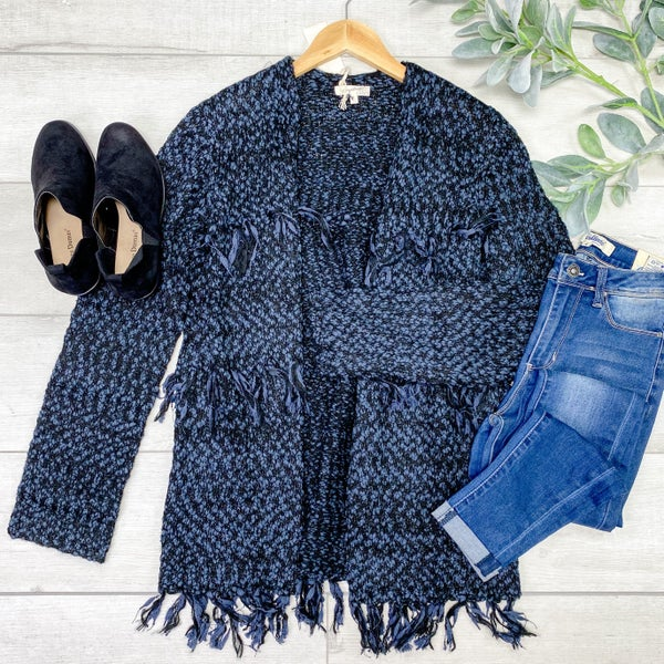 Chunky Fray Detailed Cardigan, Dark Navy
