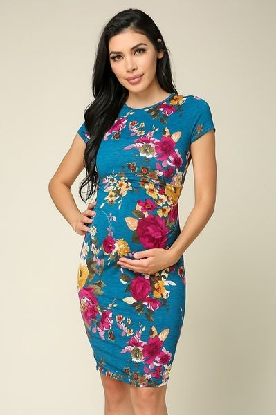 Maternity Short Sleeve Bodycon Dress - TEAL