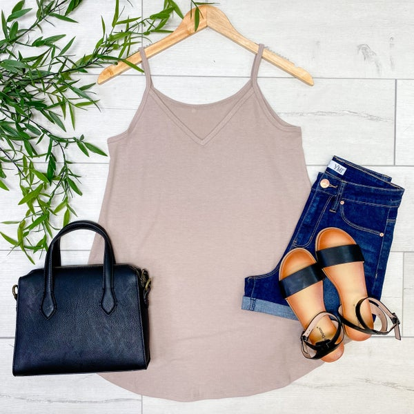 Solid Reversible Cami Tank - V-Neck/Scoop Neck, Ash Mocha [[LIVE]]