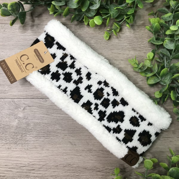 CC Beanie Leopard Headband, Ivory *$5* [FINAL SALE]