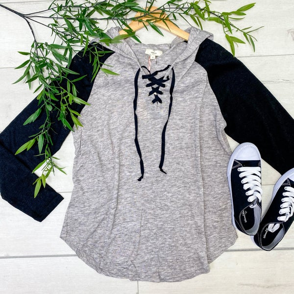 Long Sleeve Criss-Cross Top w/ Hood, Grey