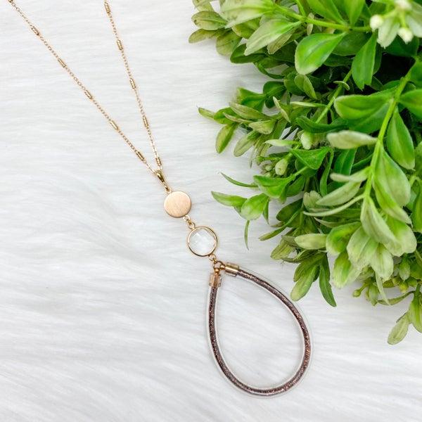 Teardrop Glitter Long Necklace, Bronze