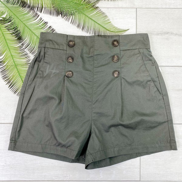 Button Front Shorts, Olive