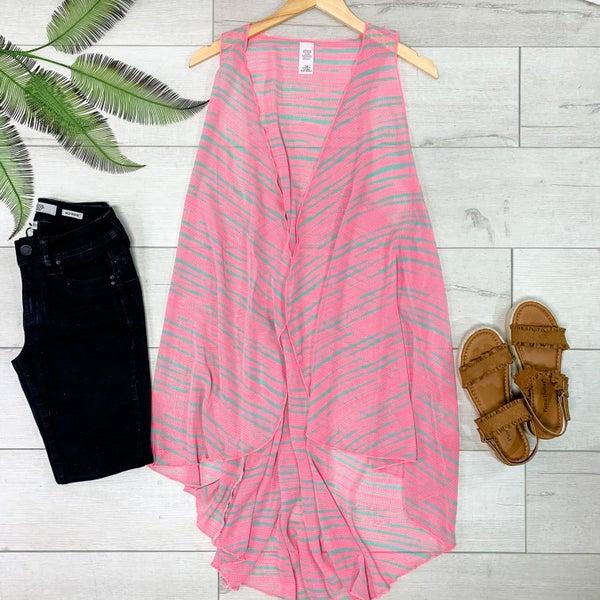 Striped Print Flyaway Vest - PINK/GRAY