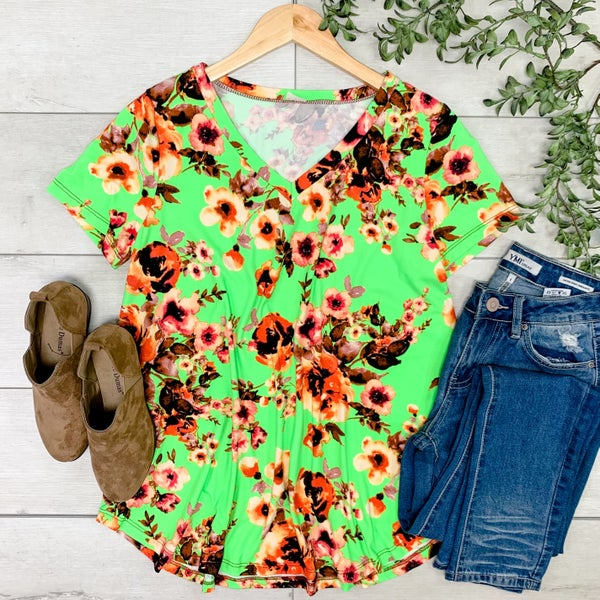 Floral V-Neck Top, Neon Green