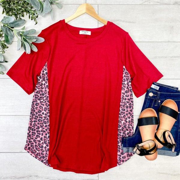Leopard Contrast Side Top, Dark Red