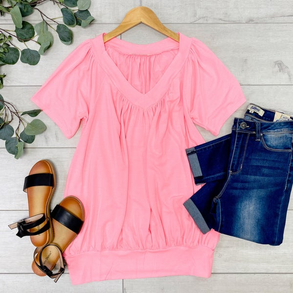 Solid V-Neck Shirring Top, Bright Pink
