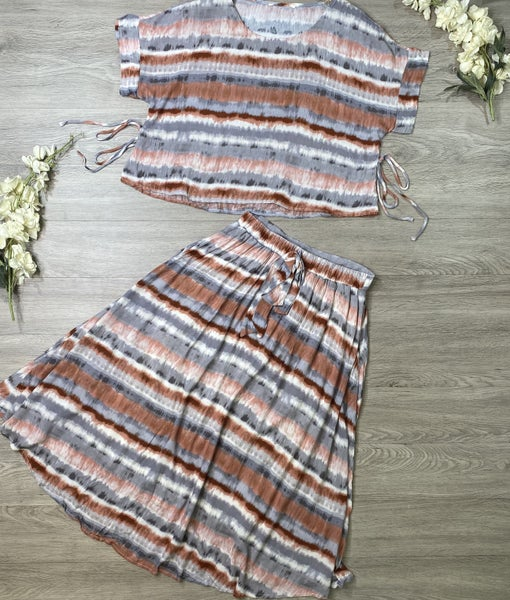 Tie Dye Top and Skirt Set, Rust
