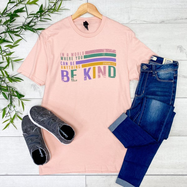 *Kendra's Collection* Be Kind Graphic Tee, Pink