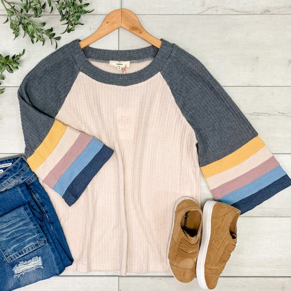 Waffle Knit Striped Sleeve Top, Natural
