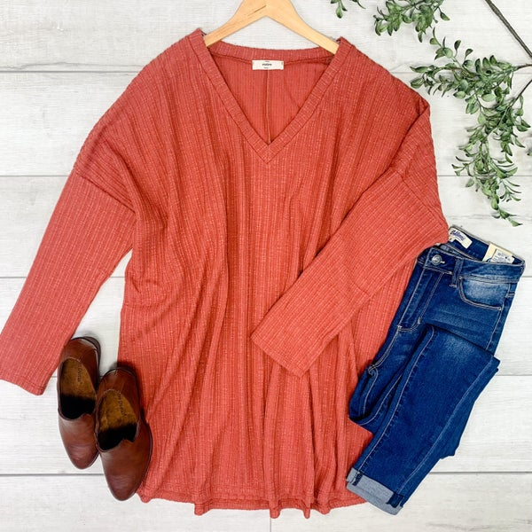 *PLUS* Ribbed V-Neck Tunic, Rust