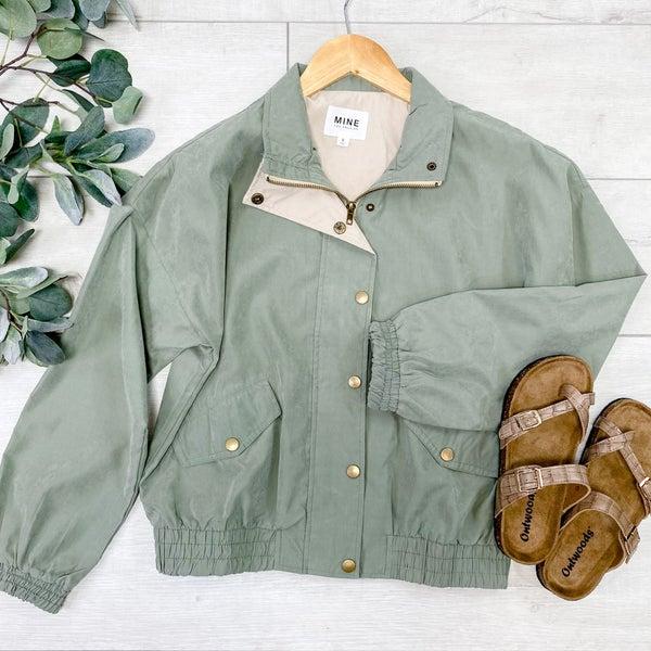 Front Zip Lightweight Jacket, Olive