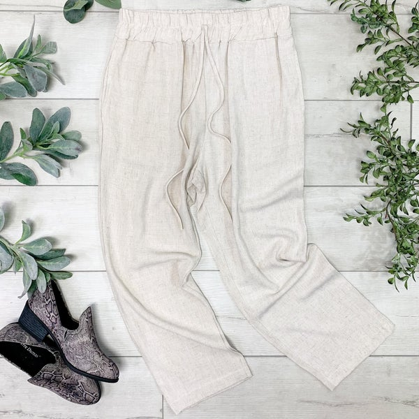 Solid Cropped Pant, Beige