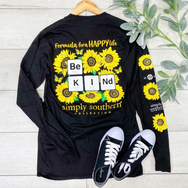 *Simply Southern* LS BE KIND Sunflower Tee, Black