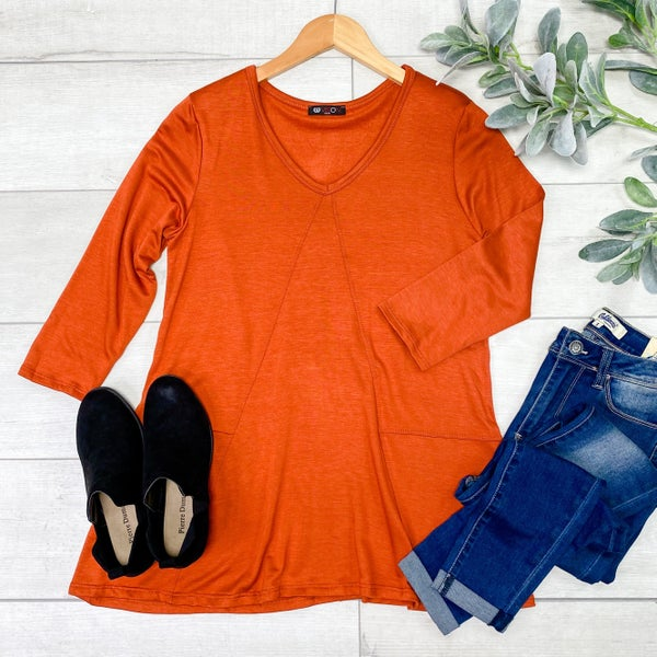 Contrast Stitching V-Neck Tunic Top, Rust