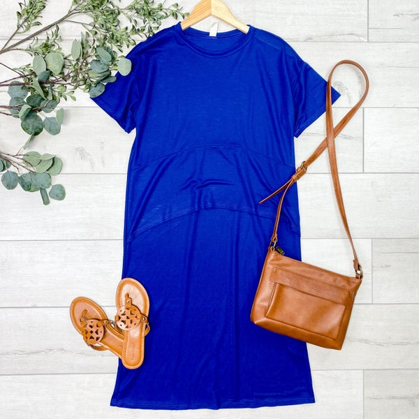 Solid Front Ruffle Midi, Blue