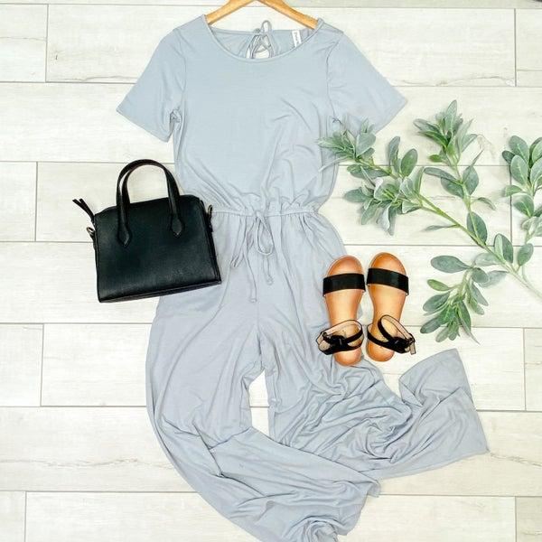 Solid Short Sleeve Jumpsuit w/Pockets, Light Grey