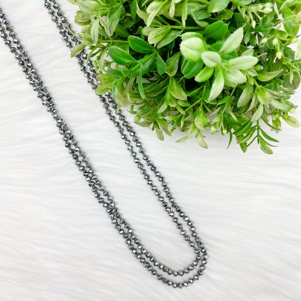 "Crystal Beaded 80"" Long Wrap Necklace, Grey *Final Sale*"