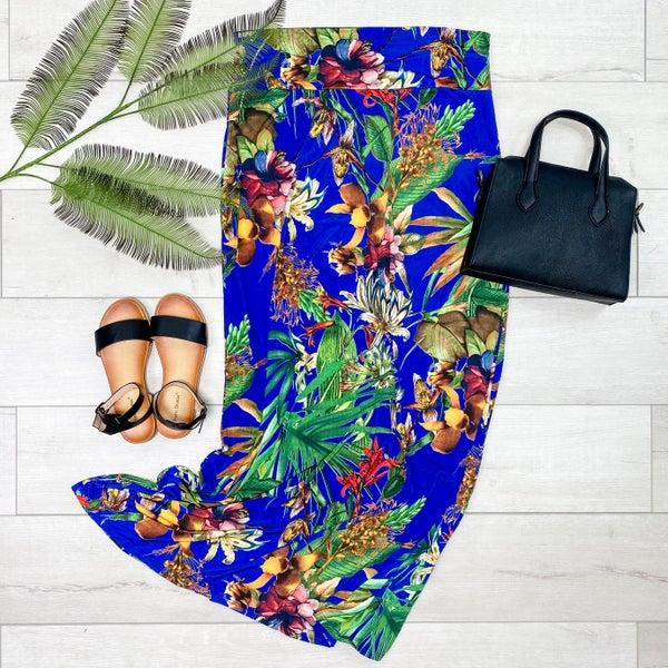 *PLUS* Floral Maxi Skirt, Blue