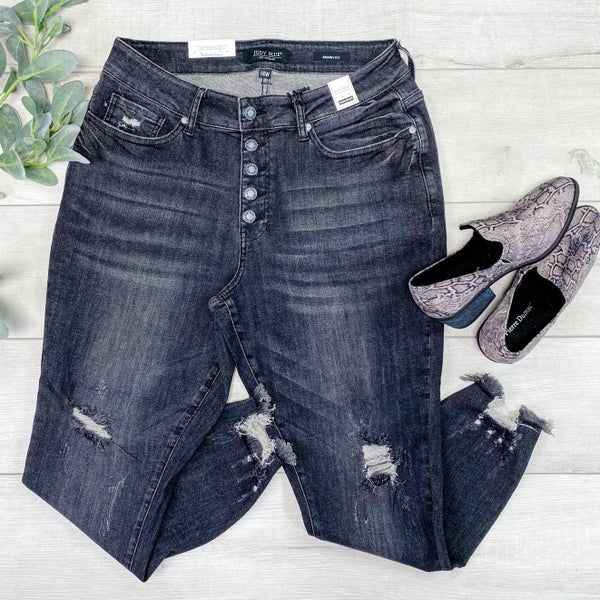 *Kendra's Collection* Distressed Button Fly High Waist Jean, Black