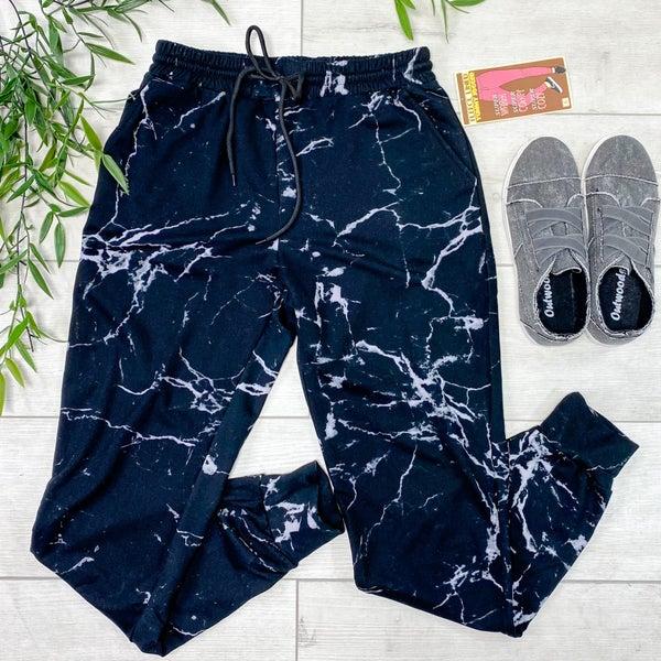 Marble Pattern Jogger, Black