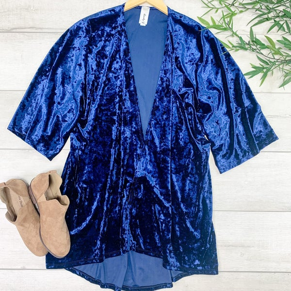 Velour Kimono, Blue