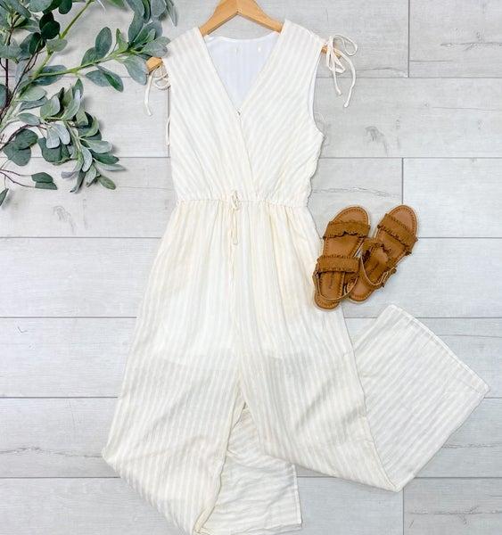 Striped Sleeveless Jumpsuit, Cream *Final Sale*