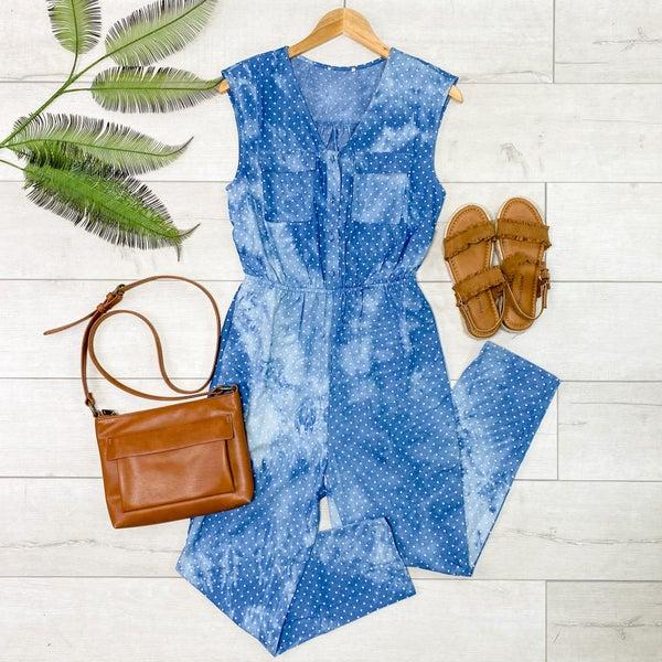 Sleeveless Polka Dot Tie Dye Jumpsuit, Blue