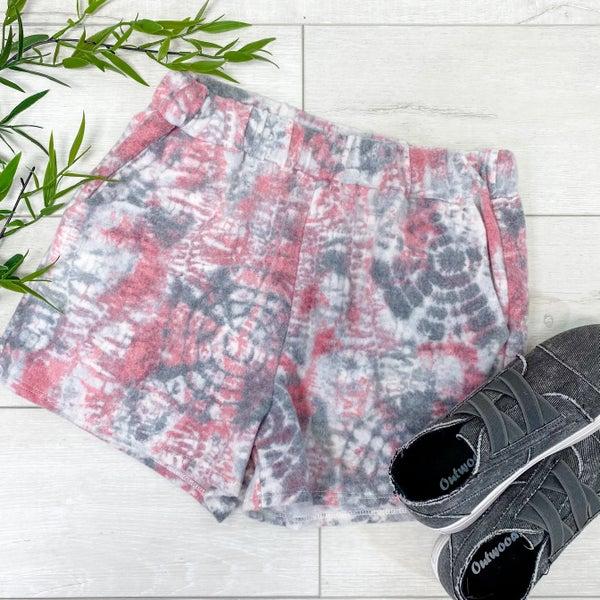Brushed Knit Tie Dye Shorts, Pink