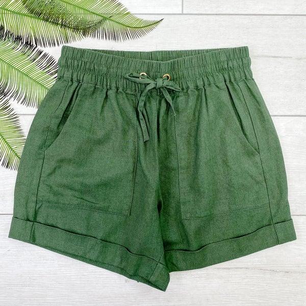 Drawstring Cuffed Linen Shorts w/Pockets, Ash Olive