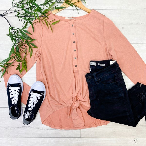 Long Sleeve Button Down Front Knot Top, Blush