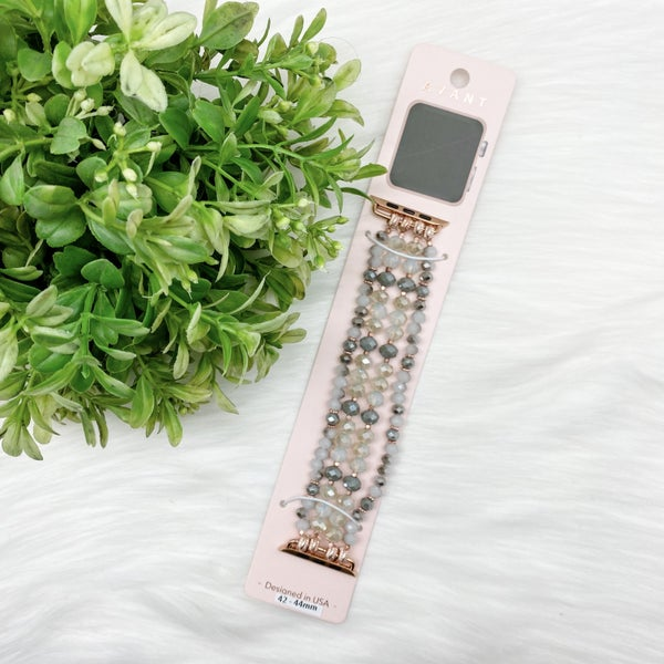 Beaded Apple Watch Band, Grey *Final Sale*