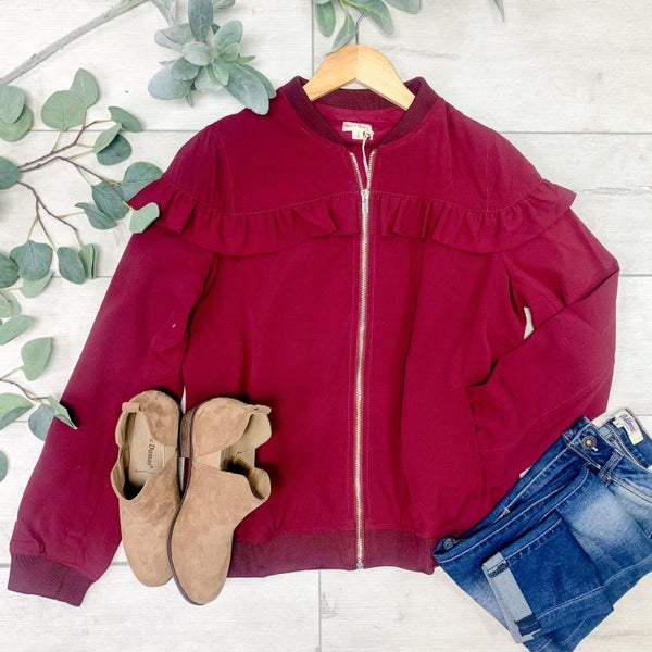Ruffle Trimmed Zip Up Jacket, Wine *Final Sale*