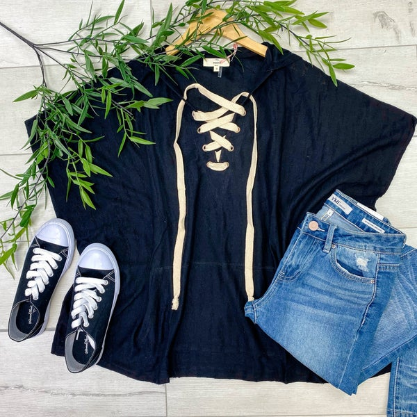 Distressed Criss Cross Top w/ Hood, Black