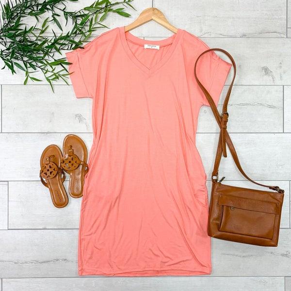 Solid V-Neck T-Shirt Dress, Deep Coral