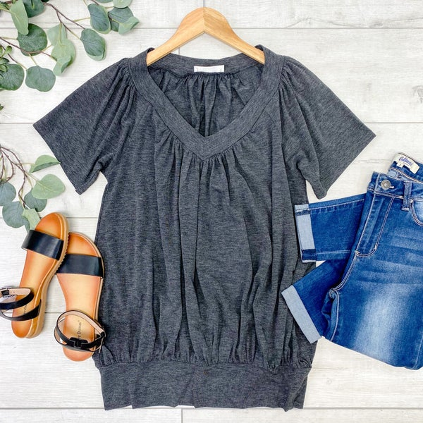 Solid V-Neck Shirring Top, Charcoal