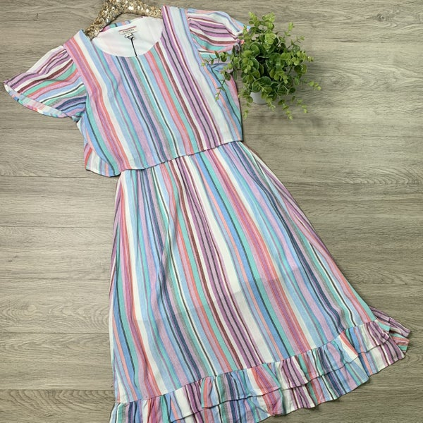 *Kendra's Collection* Striped Ruffle Hem Midi Dress, Multi Color *Final Sale*