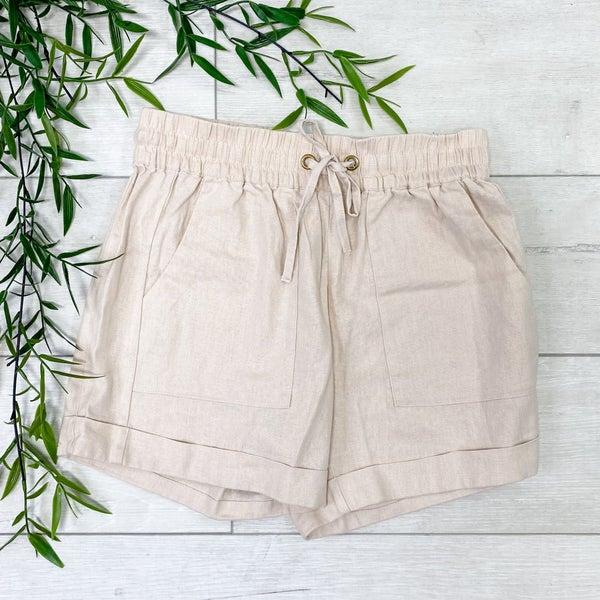 Drawstring Cuffed Linen Shorts w/Pockets, Taupe