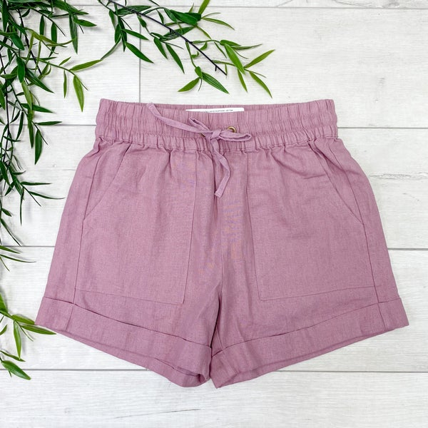 Drawstring Cuffed Linen Shorts w/Pockets, Light Rose
