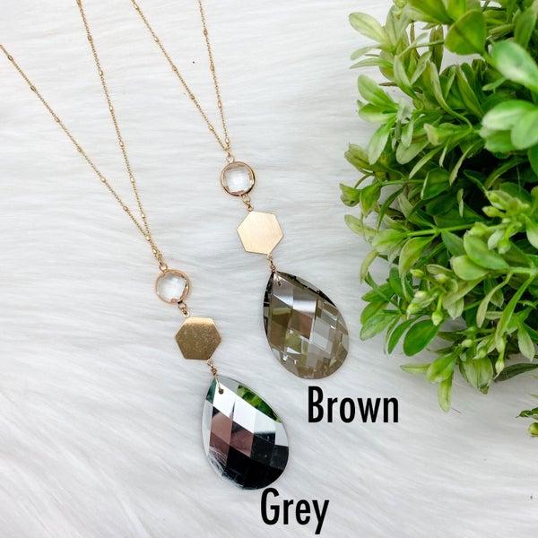Drop Stone Long Necklace