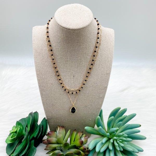 Three Layer Short Necklace w/ Stone Pendant, Black