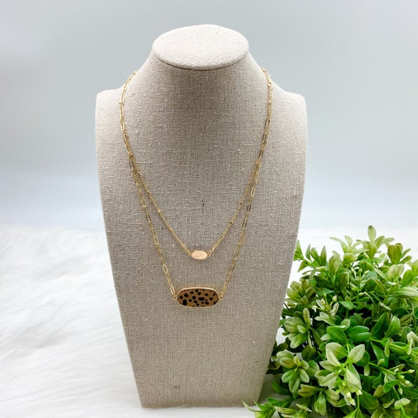 Short Layered Necklace, Brown Cheetah *Final Sale*