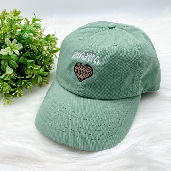 Leopard Heart MAMA Hat, Green Tea