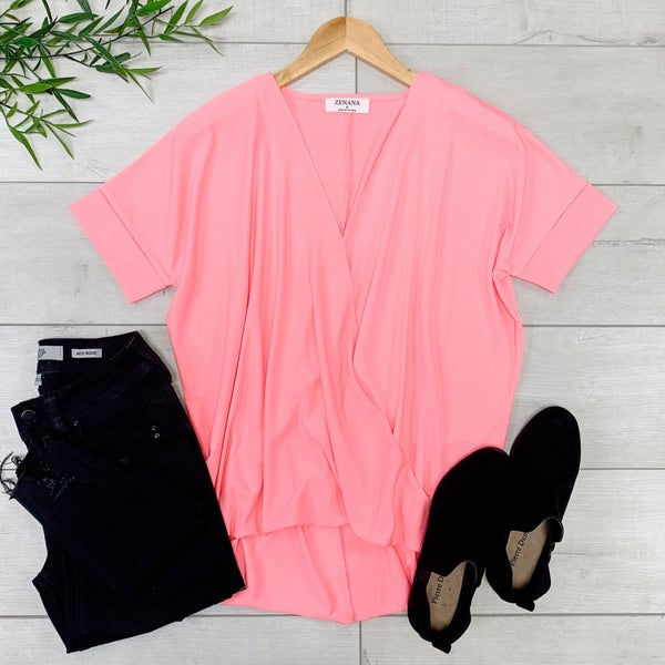 Draped Front Top, Bright Pink