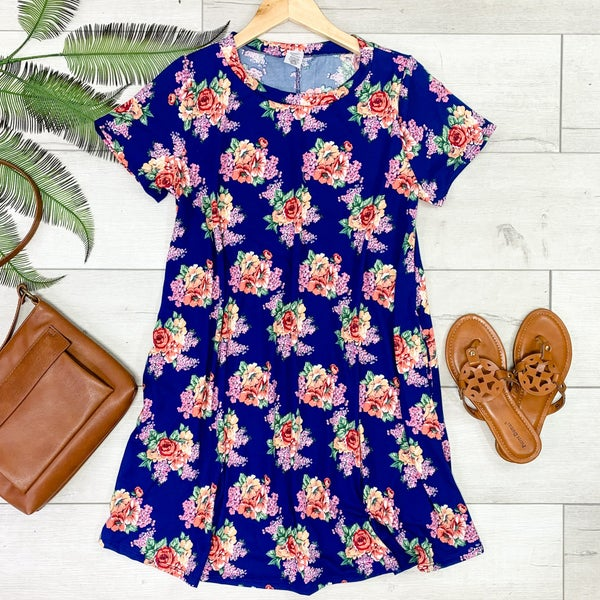 Floral Patterned Swing Dress, Navy