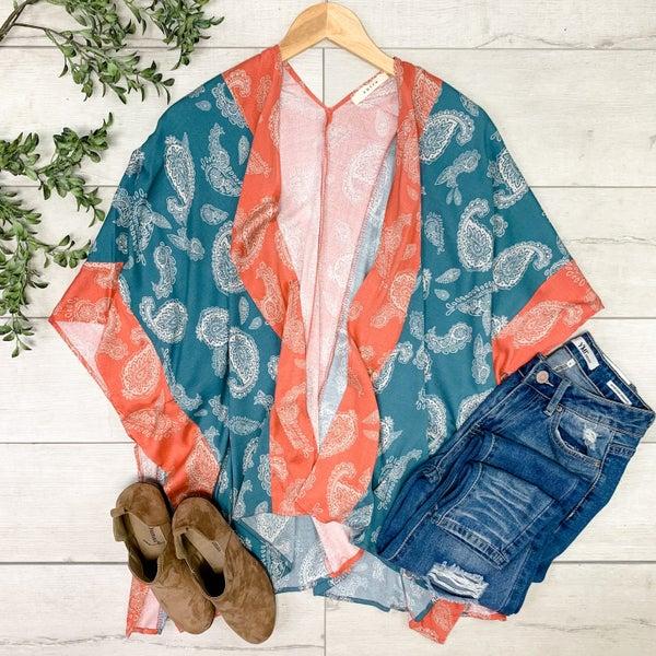 Paisley Print Kimono, Teal