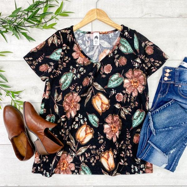 Floral Knit V-Neck, Black