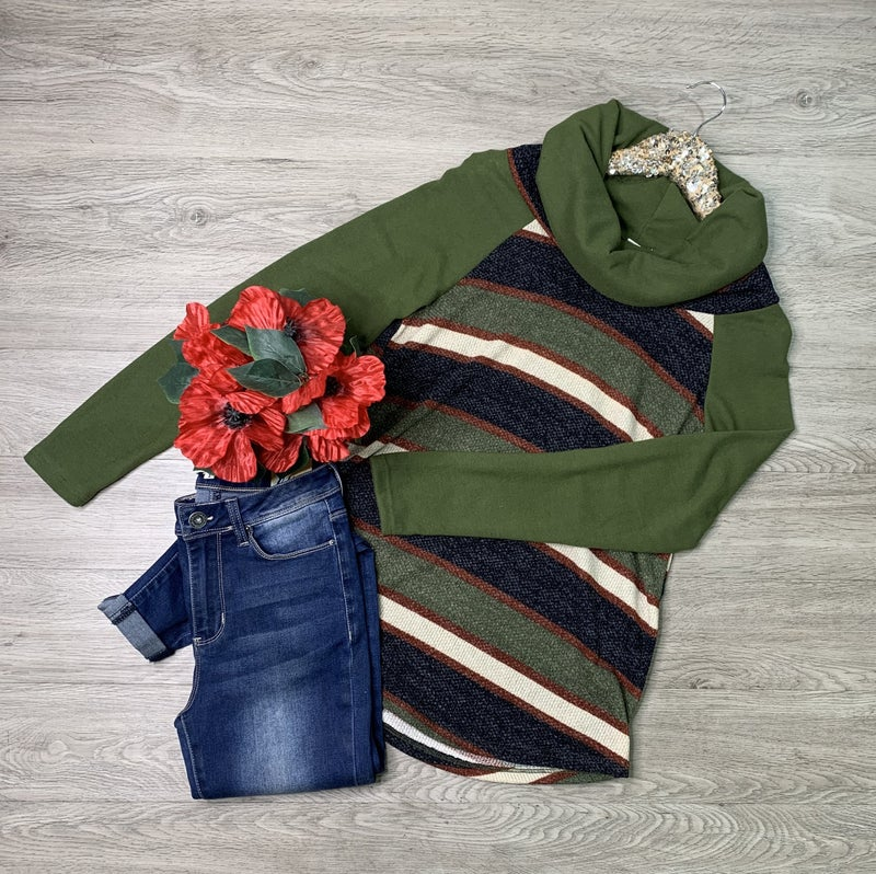 Solid and Striped Contrast Raglan Cowl Neck Top, Green *Final Sale*