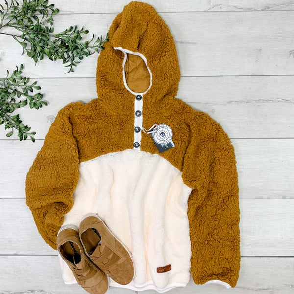 *Simply Southern* Two-Tone Sherpa Pullover, Mustard/White